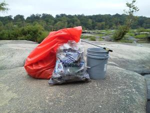 Trash collected during the James River Advisory Council cleanup Sept. 12, 2015.